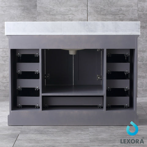 "Lexora Dukes 48"" Dark Grey Single Vanity, White Carrara Marble Top, White Square Sink and 46"" Mirror"