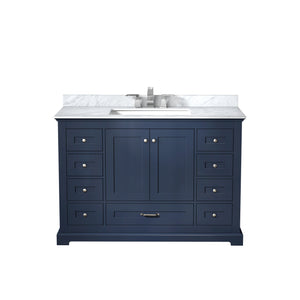 "Lexora Dukes 48"" Navy Blue Single Vanity, White Carrara Marble Top, White Square Sink and no Mirror"