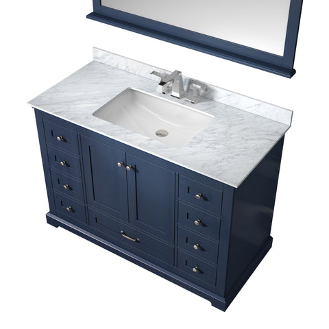 "Image of Lexora Dukes 48"" Navy Blue Single Vanity, White Carrara Marble Top, White Square Sink and 46"" Mirror w/ Faucet"