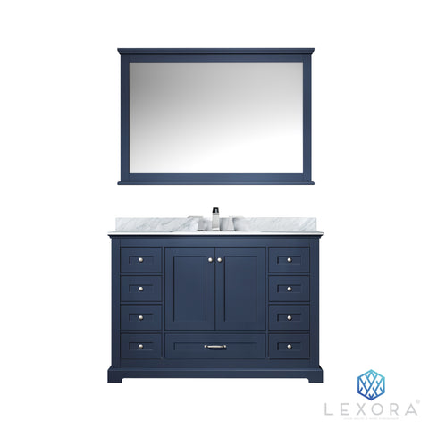 "Lexora Dukes 48"" Navy Blue Single Vanity, White Carrara Marble Top, White Square Sink and 46"" Mirror"