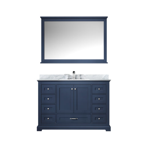 "Lexora Dukes 48"" Navy Blue Single Vanity, White Carrara Marble Top, White Square Sink and 46"" Mirror w/ Faucet"