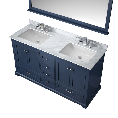 "Lexora Dukes 60"" Navy Blue Double Vanity, White Carrara Marble Top, White Square Sinks and 58"" Mirror w/ Faucets"