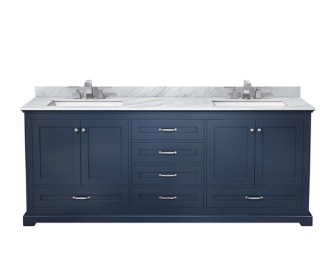 "Lexora Dukes 80"" Navy Blue Double Vanity, White Carrara Marble Top, White Square Sinks and no Mirror"