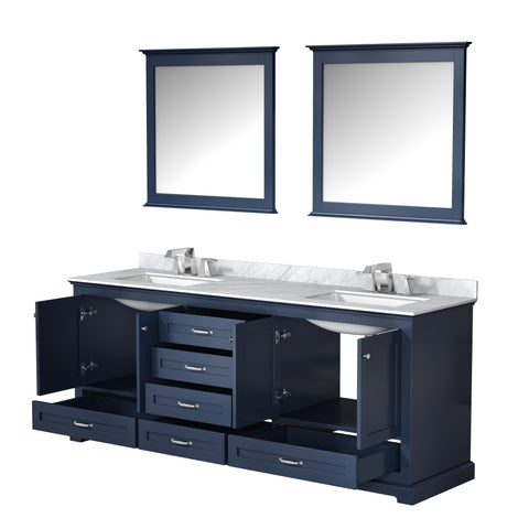 "Lexora Dukes 80"" Navy Blue Double Vanity, White Carrara Marble Top, White Square Sinks and 30"" Mirrors w/ Faucets"
