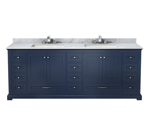 "Lexora Dukes 84"" Navy Blue Double Vanity, White Carrara Marble Top, White Square Sinks and no Mirror"