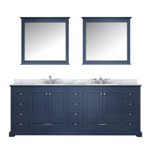"Lexora Dukes 84"" Navy Blue Double Vanity, White Carrara Marble Top, White Square Sinks and 34"" Mirrors w/ Faucets"