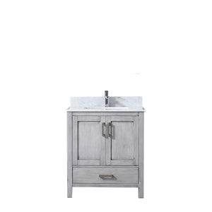 "Lexora Jacques 30"" Distressed Grey Single Vanity, White Carrara Marble Top, White Square Sink and no Mirror"