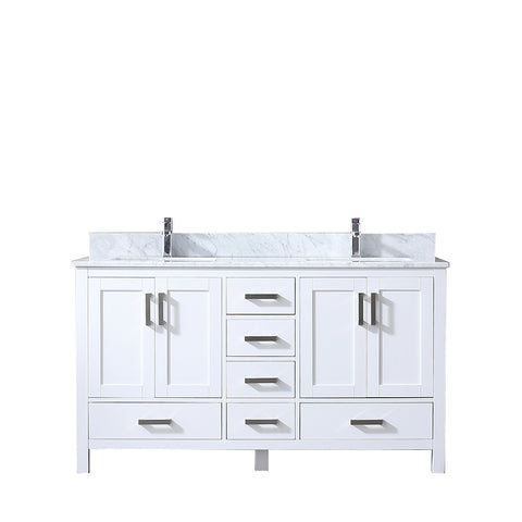 "Lexora Jacques 60"" White Double Vanity, White Carrara Marble Top, White Square Sinks and no Mirror"