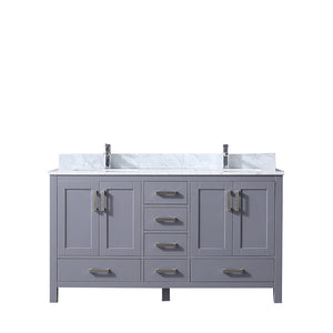 "Lexora Jacques 60"" Dark Grey Double Vanity, White Carrara Marble Top, White Square Sinks and no Mirror"