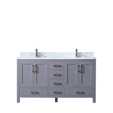 "Image of Lexora Jacques 60"" Dark Grey Double Vanity, White Carrara Marble Top, White Square Sinks and no Mirror"