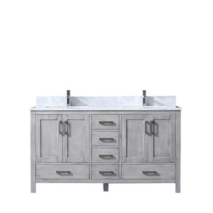 "Lexora Jacques 60"" Distressed Grey Double Vanity, White Carrara Marble Top, White Square Sinks and no Mirror"