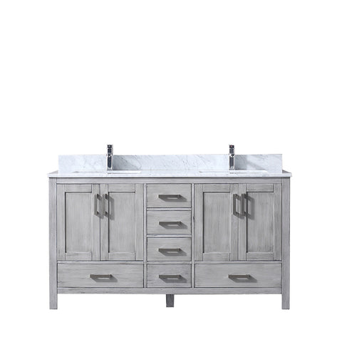"Image of Lexora Jacques 60"" Distressed Grey Double Vanity, White Carrara Marble Top, White Square Sinks and no Mirror"
