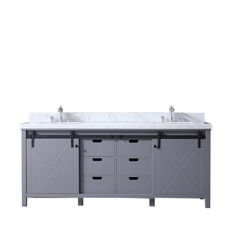 "Lexora Marsyas 80"" Dark Grey Double Vanity, White Carrara Marble Top, White Square Sinks and no Mirror"