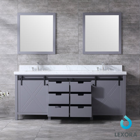 "Image of Lexora Marsyas 80"" Dark Grey Double Vanity, White Carrara Marble Top, White Square Sinks and 30"" Mirrors"