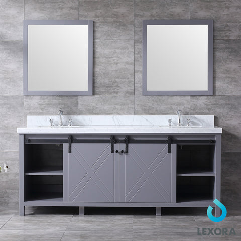 "Lexora Marsyas 80"" Dark Grey Double Vanity, White Carrara Marble Top, White Square Sinks and 30"" Mirrors"