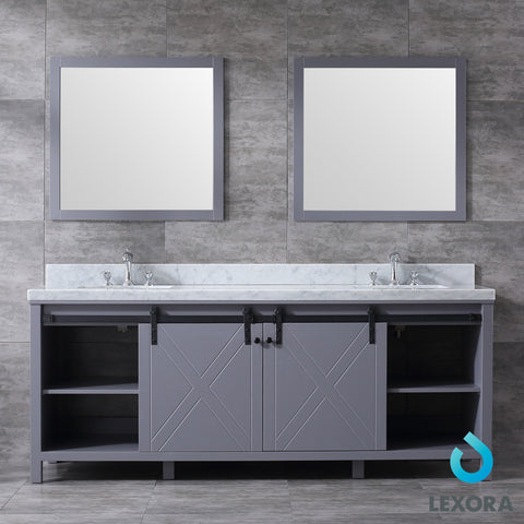 "Image of Lexora Marsyas 84"" Dark Grey Double Vanity, White Carrara Marble Top, White Square Sinks and 34"" Mirrors"