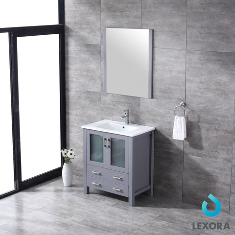 "Lexora Volez 30"" Dark Grey Single Vanity, Integrated Top, White Integrated Square Sink and 28"" Mirror"