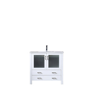 "Lexora Volez 36"" White Single Vanity, Integrated Top, White Integrated Square Sink and no Mirror"