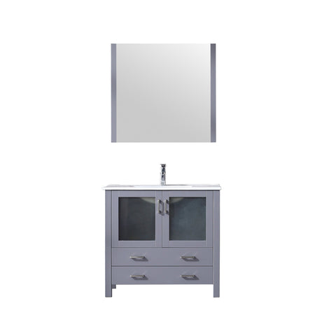 "Lexora Volez 36"" Dark Grey Single Vanity, Integrated Top, White Integrated Square Sink and 34"" Mirror"
