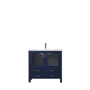 "Lexora Volez 36"" Navy Blue Single Vanity, Integrated Top, White Integrated Square Sink and no Mirror"
