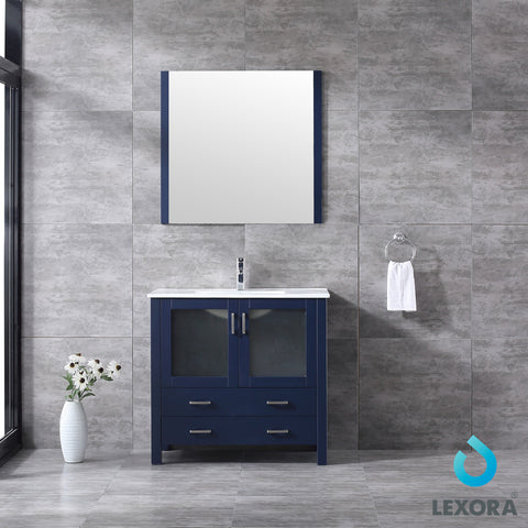 "Lexora Volez 36"" Navy Blue Single Vanity, Integrated Top, White Integrated Square Sink and 34"" Mirror"