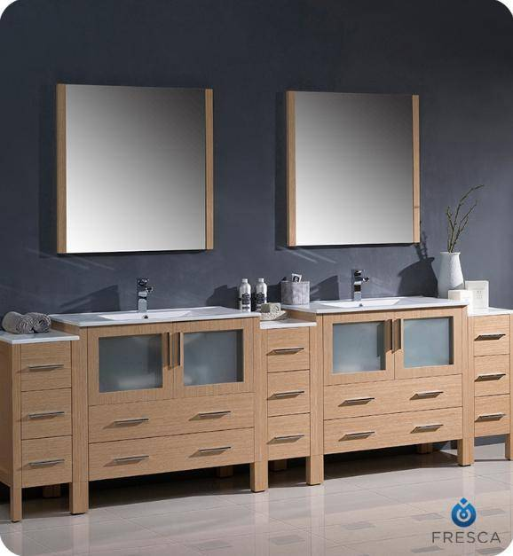 "Fresca Torino 108"" Light Oak Modern Double Sink Bathroom Vanity with 3 Side Cabinets and Integrated Sinks - Bathroom Vanity Portal"