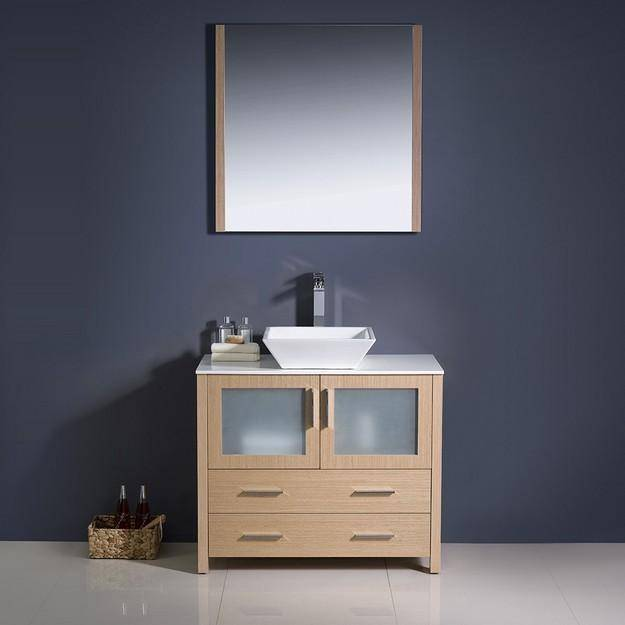 "Fresca Torino 36"" Light Oak Modern Bathroom Vanity w/ Vessel Sink - Bathroom Vanity Portal"