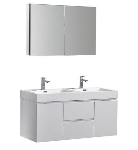 "Image of Fresca Valencia 48"" Glossy White Wall Hung Double Sink Modern Bathroom Vanity with Medicine Cabinet - Bathroom Vanity Portal"