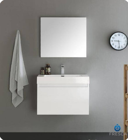 "Image of Fresca Mezzo 30"" White Wall Hung Modern Bathroom Vanity with Medicine Cabinet - Bathroom Vanity Portal"