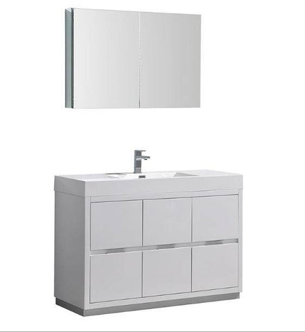 "Fresca Valencia 48"" Glossy White Free Standing Modern Bathroom Vanity with Medicine Cabinet - Bathroom Vanity Portal"