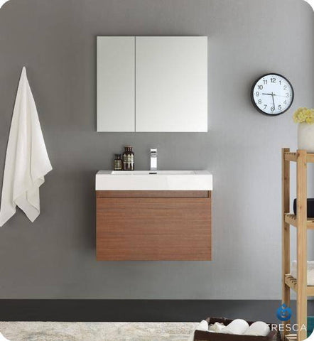 "Image of Fresca Mezzo 30"" Teak Wall Hung Modern Bathroom Vanity with Medicine Cabinet - Bathroom Vanity Portal"