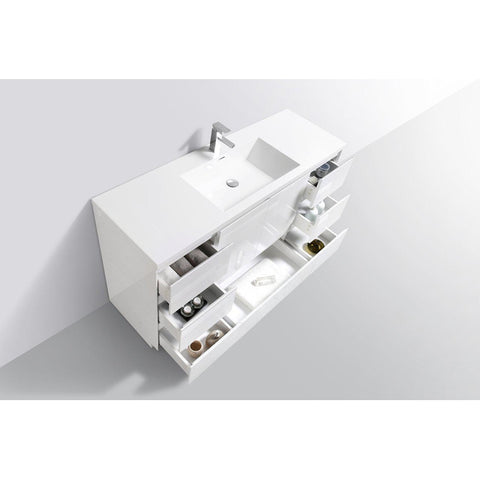 Image of Moreno Bath Angeles 58.75 Inch Modern High Gloss White Vanity with Reinforced Acrylic Sink