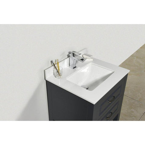 Moreno Bath Louis 23.5 Inch Matte Gray Bathroom Vanity with Marble Quartz Top and Ceramic Sink