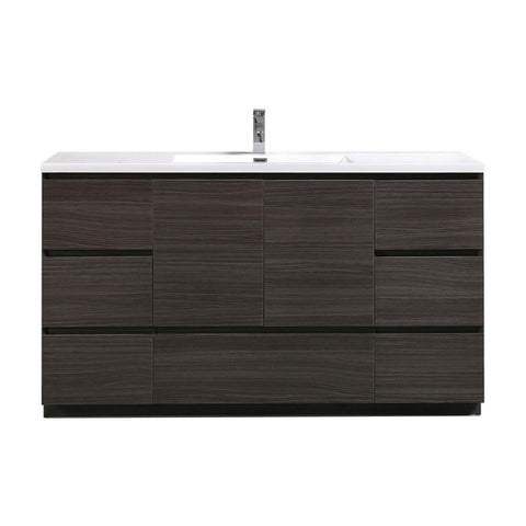 Moreno Bath Angeles 58.75 Inch Modern Dark Gray Oak Vanity with Reinforced Acrylic Sink