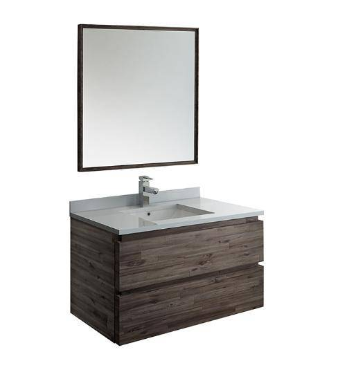 "Fresca Formosa 36"" Wall Hung Modern Bathroom Vanity with Mirror - Bathroom Vanity Portal"