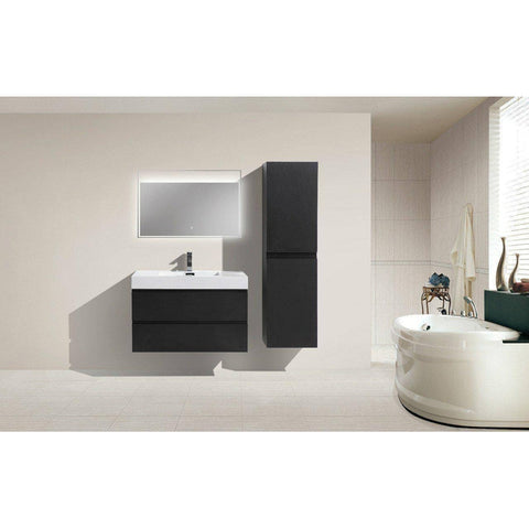 "Image of Moreno MOF 36"" Black Wall Mounted Modern Bathroom Vanity - Bathroom Vanity Portal"