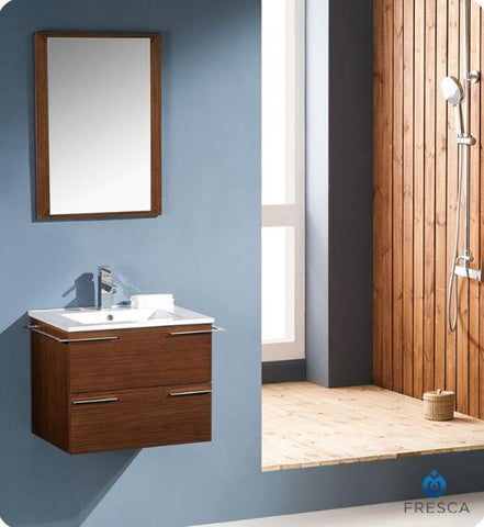 Image of Fresca Cielo 23.5 Inch Wenge Brown Modern Bathroom Vanity w/ Mirror