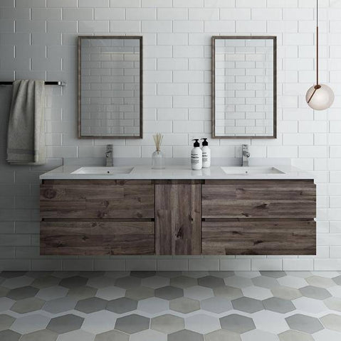 "Image of Fresca Formosa 72"" Wall Hung Double Sink Modern Bathroom Vanity with Mirrors"
