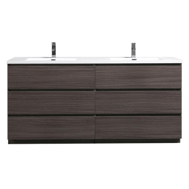 Moreno Bath Angeles 70.5 Inch Modern Dark Gray Oak Vanity with Double Reinforced Acrylic Sinks
