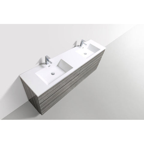 Image of Moreno Bath Angeles 83.5 Inch Modern High Gloss Ash Gray Vanity with Double Reinforced Acrylic Sinks