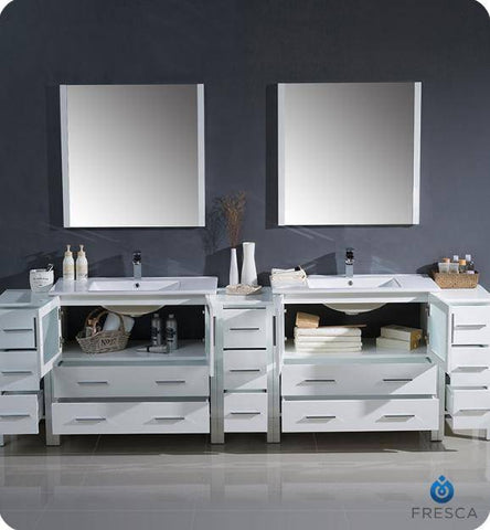 "Image of Fresca Torino 108"" White Modern Double Sink Bathroom Vanity with 3 Side Cabinets and Integrated Sinks - Bathroom Vanity Portal"