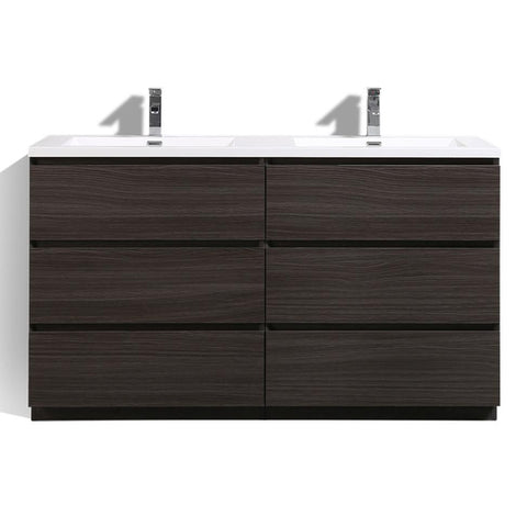 Image of Moreno Bath Angeles 58.75 Inch Modern Dark Gray Oak Vanity with Double Acrylic Sinks