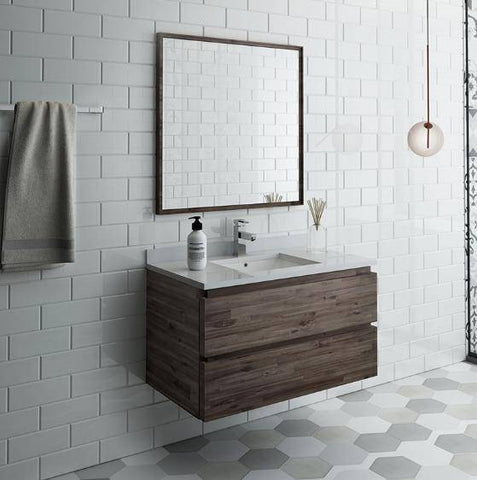 "Image of Fresca Formosa 36"" Wall Hung Modern Bathroom Vanity with Mirror - Bathroom Vanity Portal"