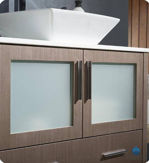 "Fresca Torino 36"" Gray Oak Brown Modern Bathroom Vanity with Vessel Sink - Bathroom Vanity Portal"