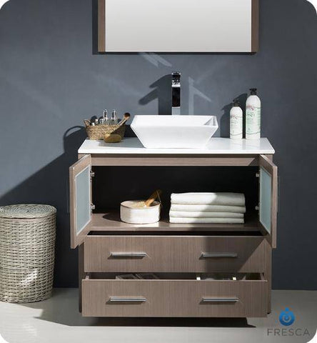 "Image of Fresca Torino 36"" Gray Oak Brown Modern Bathroom Vanity with Vessel Sink - Bathroom Vanity Portal"