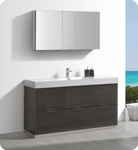 "Image of Fresca Valencia 60"" Gray Oak Free Standing Modern Bathroom Vanity with Medicine Cabinet - Bathroom Vanity Portal"
