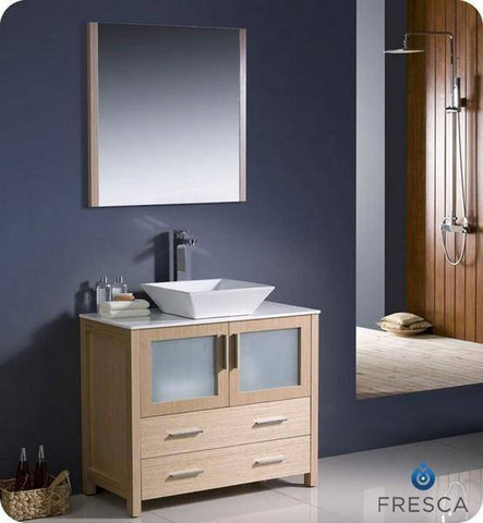 "Image of Fresca Torino 36"" Light Oak Modern Bathroom Vanity w/ Vessel Sink - Bathroom Vanity Portal"
