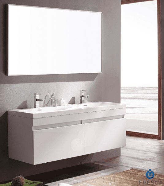 Fresca Largo 56.63 Inch White Modern Bathroom Vanity w/ Wavy Double Sinks