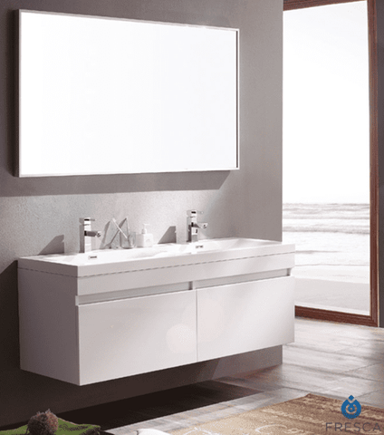 Image of Fresca Largo 56.63 Inch White Modern Bathroom Vanity w/ Wavy Double Sinks