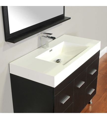 Furnishmore Greenville 39.25 Inch Single Modern Bathroom Vanity in Black with Mirror